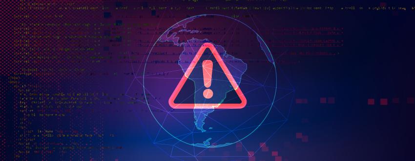Señal de advertencia en rojo sobre un mapa de América del Sur