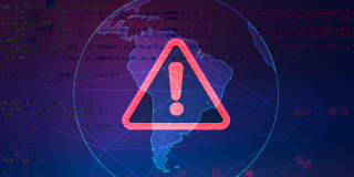 ed caution sign overlaid on a map of South America