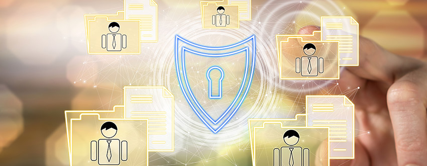 Security icon surrounded by personal data files