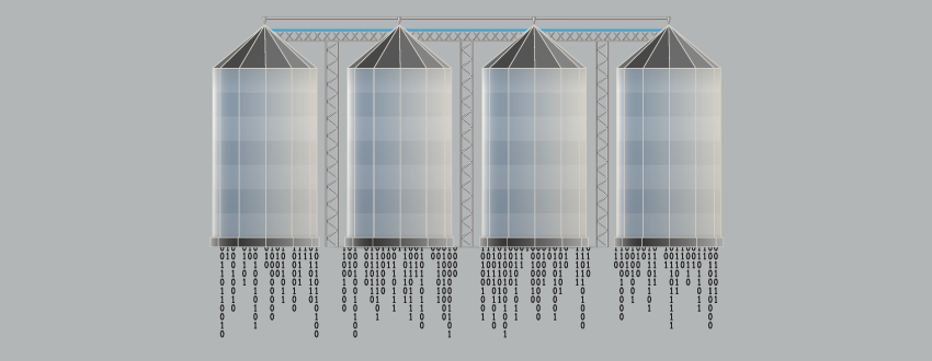 Data siloed, represented by four separate silos