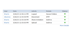 Recent web activity table in GoAnywhere MFT remote admin tool