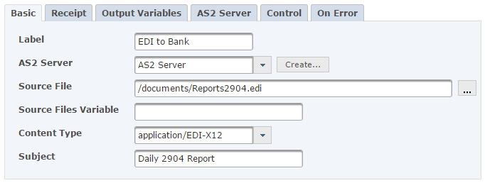 AS2 Task for Sending Secure EDI
