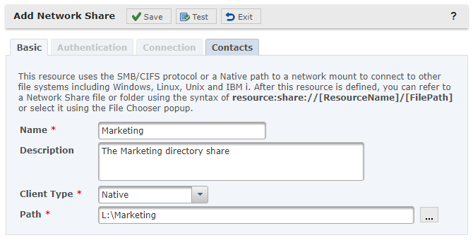 Native Network Share Resource