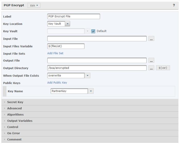 Ejemplo de encriptación de PGP de GoAnywhere MFT