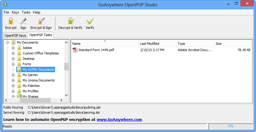 GoAnywhere OpenPGP Studio Tasks