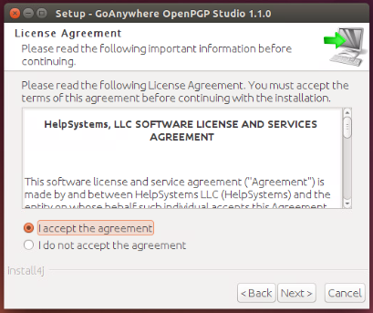 Linux/Unix Installation License Agreement - GoAnywhere OpenPGP Studio