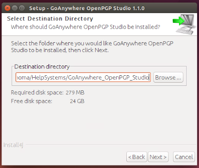 Linux/Unix Installation Select Destination - GoAnywhere OpenPGP Studio