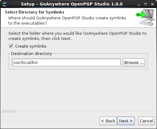 Linux/Unix Installation Start Menu - GoAnywhere OpenPGP Studio