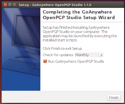 Linux/Unix Installation Completing Installation - GoAnywhere OpenPGP Studio