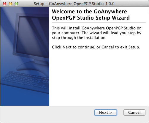 Mac OS X Installation Welcome - GoAnywhere OpenPGP Studio