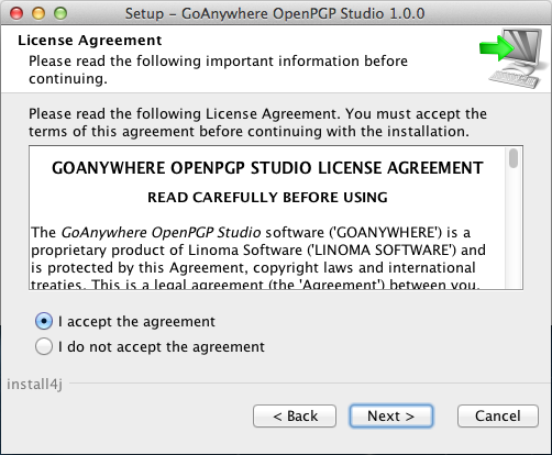 Mac OS X Installation License Agreement - GoAnywhere OpenPGP Studio