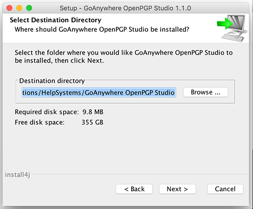 Mac OS X Installation Select Destination - GoAnywhere OpenPGP Studio