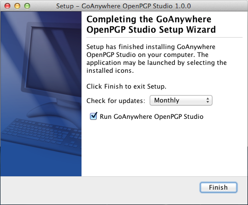 Mac OS X Installation Completing Installation - GoAnywhere OpenPGP Studio