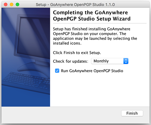Mac OS X Installation Completing Installation - GoAnywhere Open PGP Studio