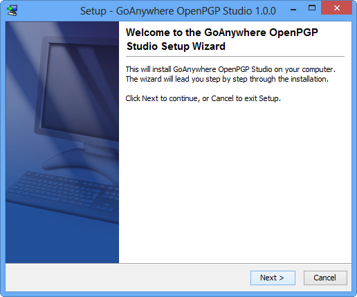 Windows Installation Welcome - GoAnywhere OpenPGP Studio