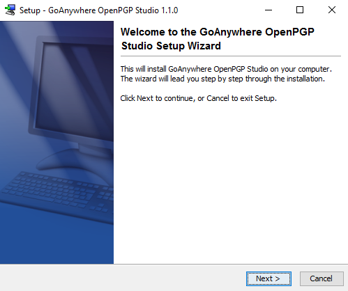 Windows Installation Welcome - GoAnywhere Open PGP Studio