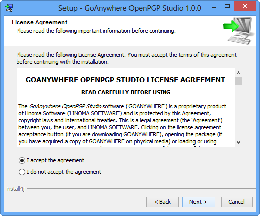 Windows Installation License Agreement - GoAnywhere OpenPGP Studio