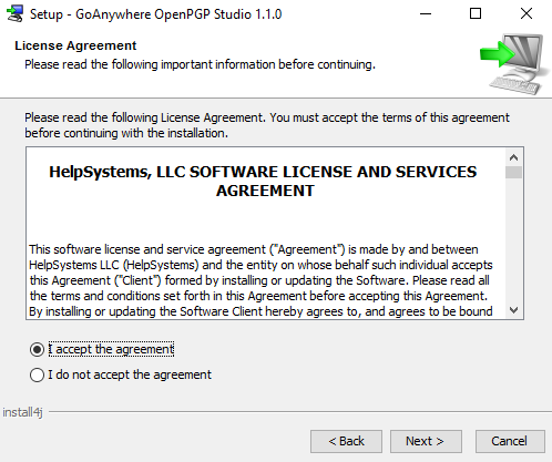 Windows Installation License Agreement - GoAnywhere Open PGP Studio