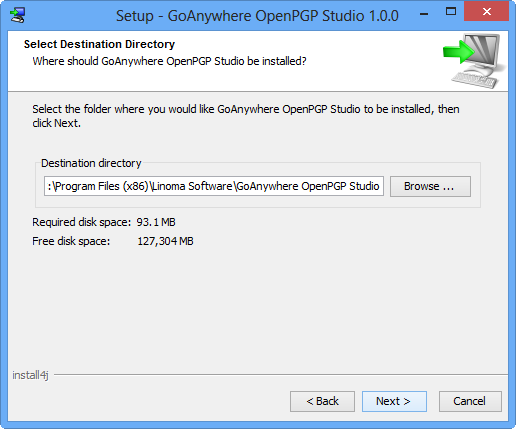 Windows Installation Select Destination - GoAnywhere OpenPGP Studio