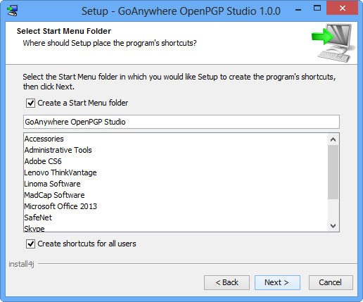 Windows Installation Start Menu - GoAnywhere OpenPGP Studio
