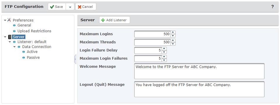 FTP Server Configuration