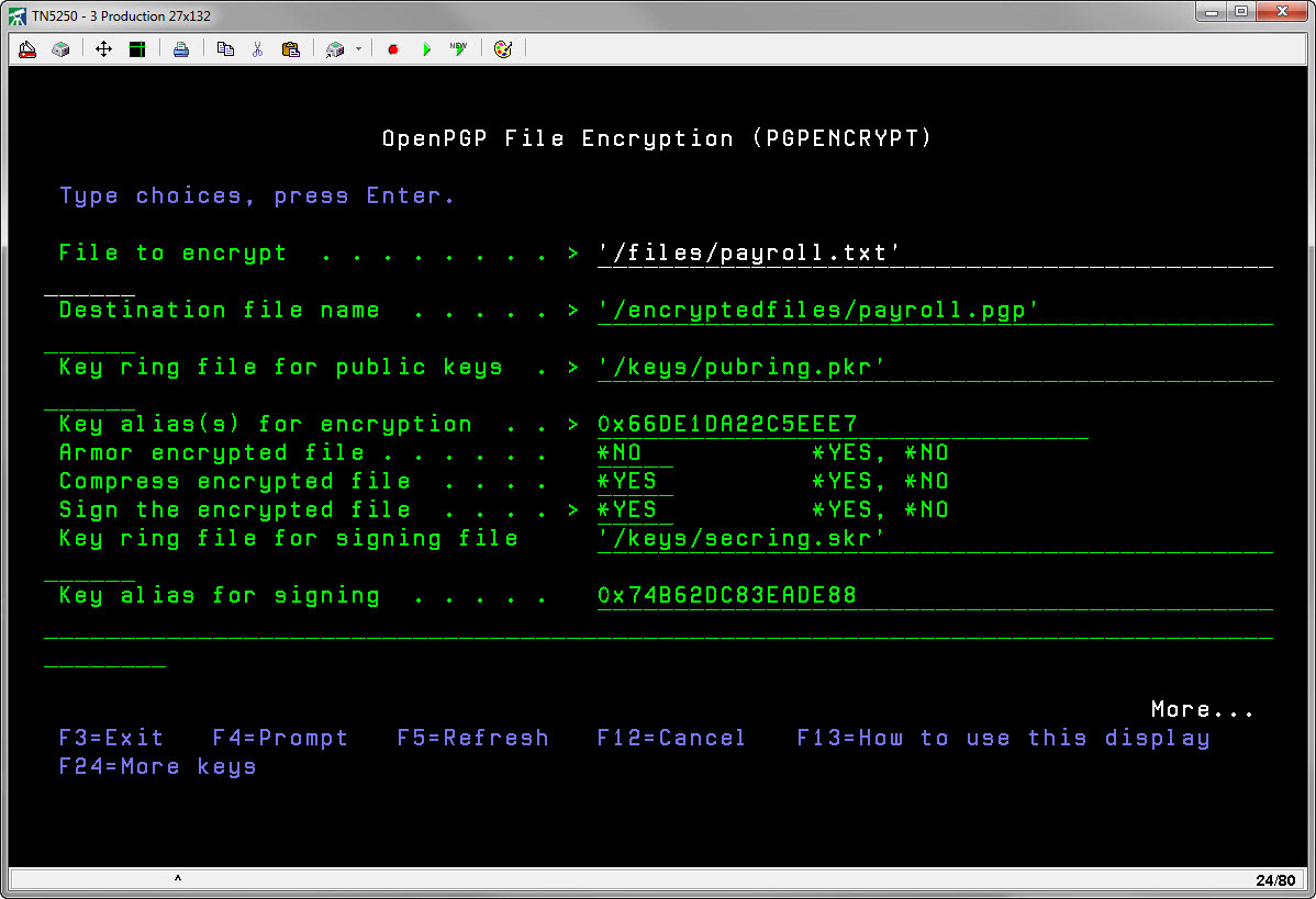 IBM i OpenPGP Encryption Command