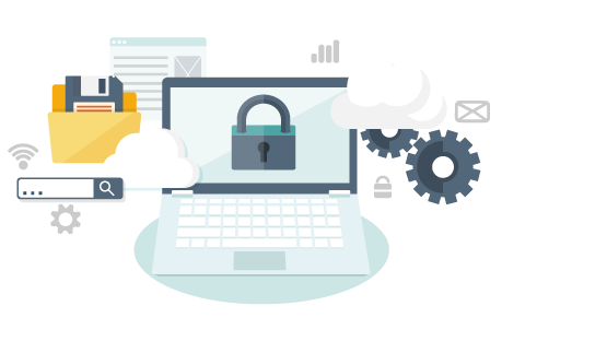Laptop with security related icons floating around it including clouds, padlocks, and gears to represent MFT file transfer.