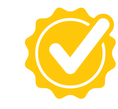 Yellow checkmark in a circle.