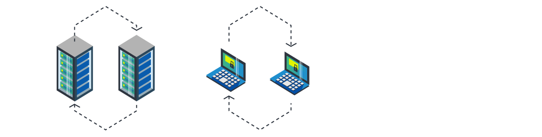 Two servers exchanging files securely
