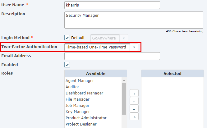 Admin User Authentication Settings