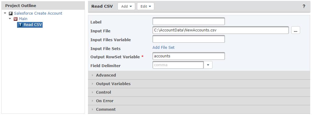 Read CSV Task