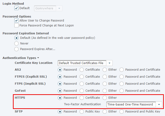 Web User Authentication Settings