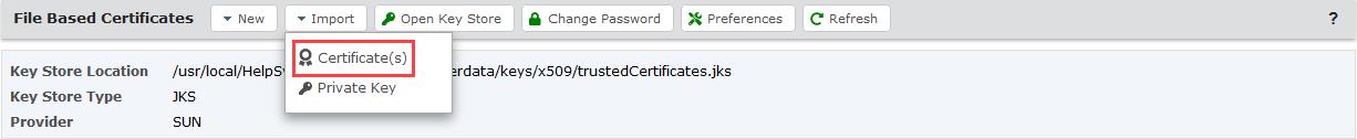 Import a Certificate