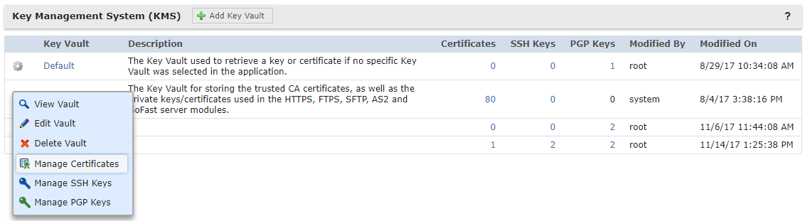 Certificate Manager Open Key Store
