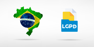 Map of Brazil with a file reading LGPD next to it