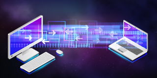 Files transferring between two machines while floating in space