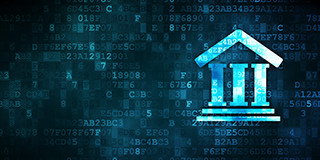 Government building superimposed on binary code to represent compliance for the Federal Information Security Management Act