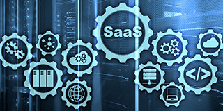 SaaS offers many advantages over on-premises and hybrid cloud options. The word SaaS in a gear shaped icon.