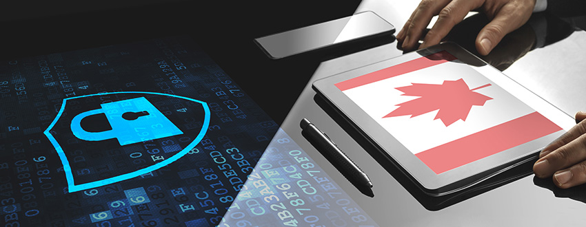 Padlock and Canadian flag, representing cybersecurity Canada
