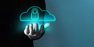 Cloud with a padlock in it levitating above a person's hand, as a representation of Enterprise SFTP software