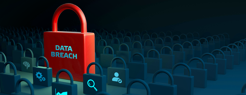 Giant red lock reading data breach stands out among a sea of little blue locks.