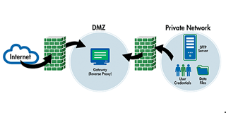 Process for how a DMZ secure gateway works