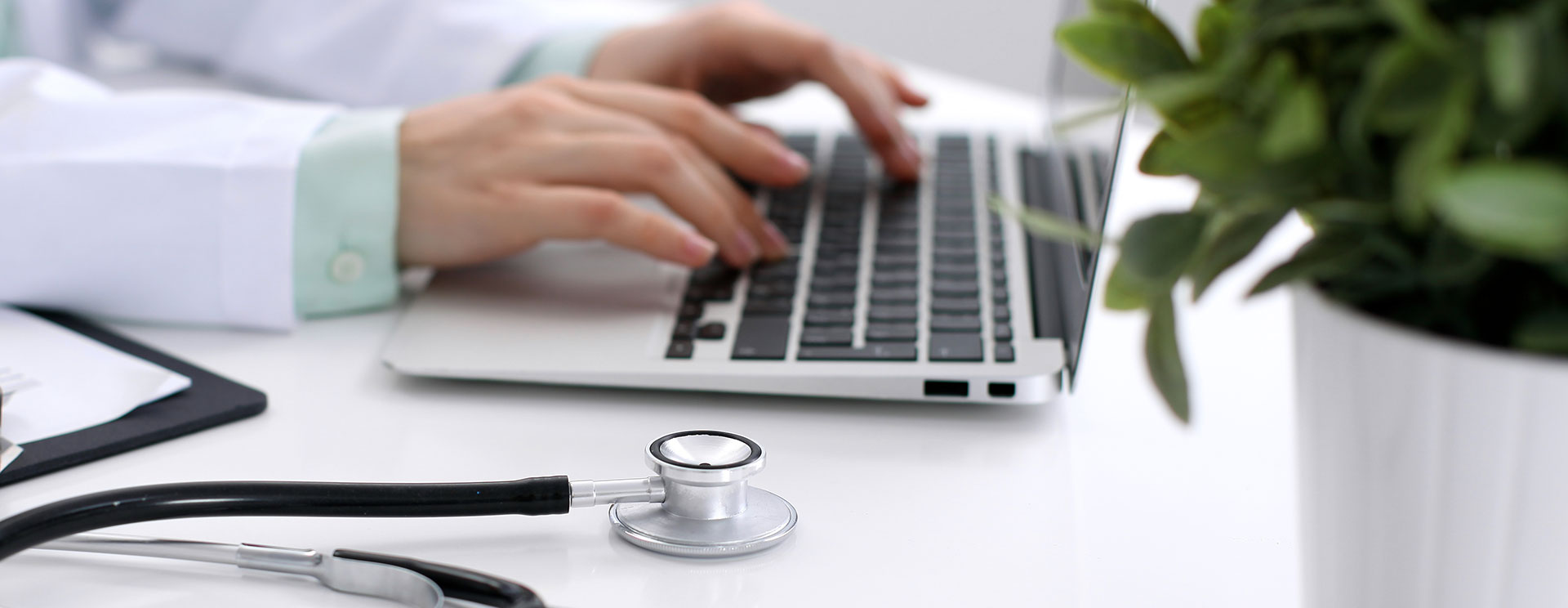Hands typing on a laptop, asking GoAnywhere experts questions, with a stethoscope and potted plant in the foreground