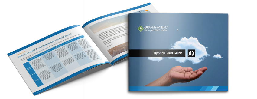 Photo of the Hybrid Cloud Guide, with a hand cupping a cloud
