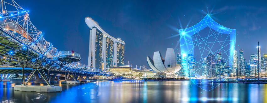 Nightime image of Singapore