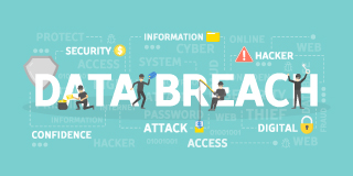Data Breach text surrounded by aspects of a data breach