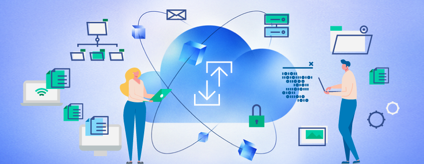 A man and woman stand to the right of computer-related icons, including a cloud, a network, folders, files, and servers