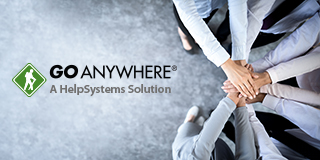 GoAnywhere, a HelpSystems Solutions text and employees with hands