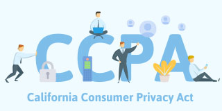 CCPA in big letters with small cartoon business-people navigating the California Consumer Privacy Act