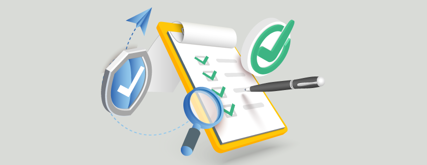 A checklist is flanked by a shield and a question mark.